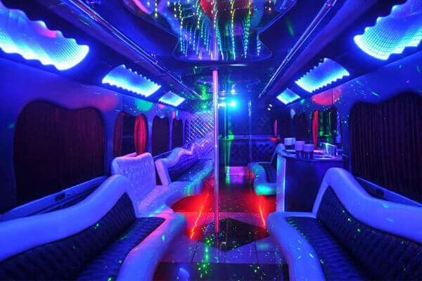 18 Passenger Party Bus Delray Beach interior
