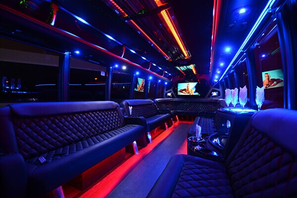 40 Passenger Party Bus West Palm Beach interior